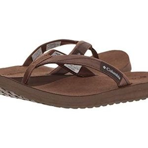 NIB Columbia Men's Brown Leather Sorrento Sandals